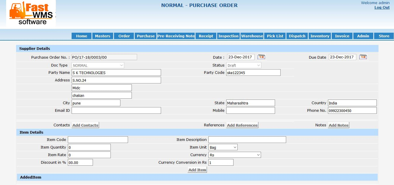 fast wms purchase order format