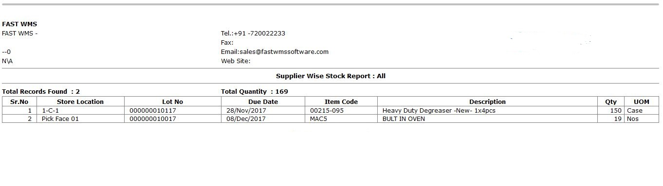 Inventory supplier wise stock report